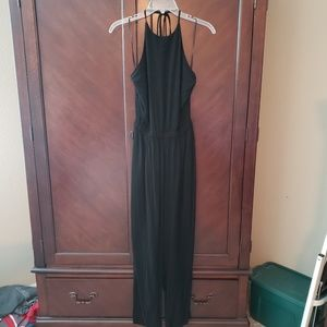 Black halter jumpsuit with pockets